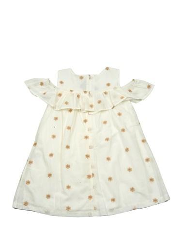 Mininio Beyaz Çiçek Nakışlı Düşük Kollu Elbise (5-14yaş) Beyaz Çiçek Nakışlı Düşük Kollu Elbise (5-14yaş) Beyaz
